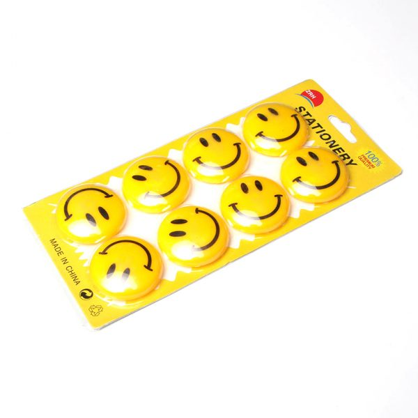 Set of 10 Magnet Buttons with Smiley Face