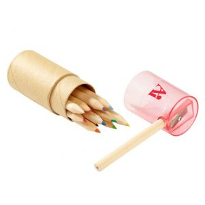 Promotional Colored Pencil Set In Tube With Sharpeners With Custom Logo