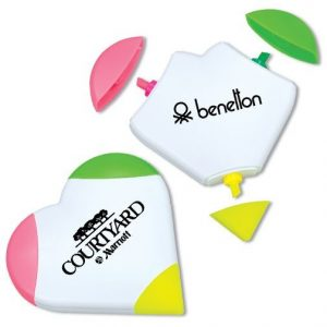 3 in 1 Heart Shaped Highlighter Pens With Logo Customized Marker Pen